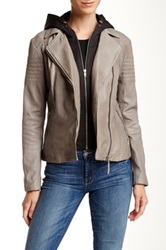 Soia And Kyo Moto Leather Jacket Gray