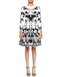 Alexander Mcqueen 3 4 Sleeve Floral Print Fit And Flare Dress Off White Black Black White