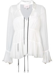Cinq A Sept Flared V Neck Blouse Women Silk Polyester Xs White