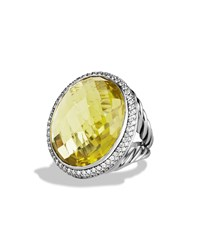 Dy Signature Oval Ring With Lemon Citrine And Diamonds David Yurman Silver