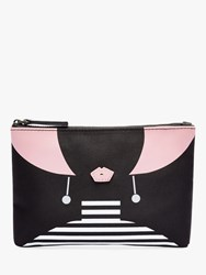 Lulu Guinness Heart Face Top Zip Purse Black Pink