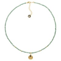 Melissa Odabash Jade Bead Lotus Pendant Necklace Green Gold
