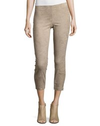 Vince Suede Straight Leg Pull On Leggings Beige