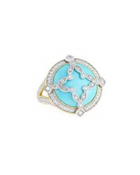Jude Frances 18K Domed Turquoise And Diamond Canopy Ring