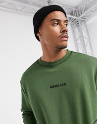 Mennace Sweatshirt With Contrast Stitching In Khaki Green