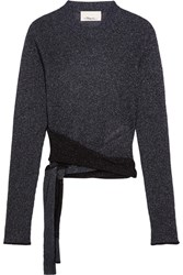 3.1 Phillip Lim Tie Front Metallic Ribbed Knit Sweater Storm Blue