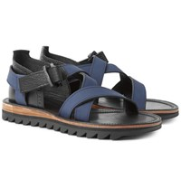 Sacai Hender Scheme Leather And Nubuck Sandals Navy
