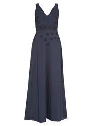 Le Sirenuse Positano Anabel Embroidered Cotton Maxi Dress Navy