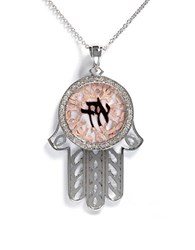 Effy Shema 14K White And Rose Gold Diamond Hamsa Pendant Necklace White Gold