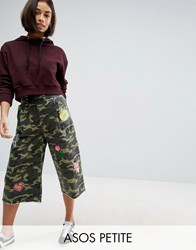 Asos Petite Camo Lace Up Wide Leg Trousers With Badges Khaki Green