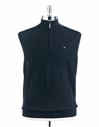 Callaway Quarter Zip Ribbed Vest Black