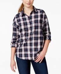 Angie Juniors' Contrast Back Plaid Button Front Shirt