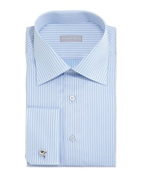 Stefano Ricci Striped French Cuff Solid Dress Shirt Light Blue