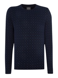Peter Werth Watts Pattern Crew Neck Jumper Navy