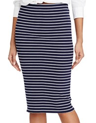 Polo Ralph Lauren Striped Rib Knit Pencil Skirt Navy