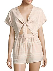 Saks Fifth Avenue Red Short Sleeve Striped Romper Pink