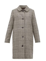 A.P.C. Peel Single Breasted Houndstooth Wool Coat Black White