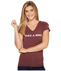 The North Face Short Sleeve Take A Hike V Neck Tri Blend Tee Deep Garnet Red Heather Women's T Shirt