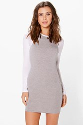 Boohoo Darcy Raglan Sleeve Bodycon Dress White