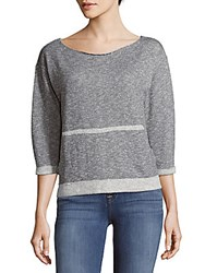 Bobi Boatneck Textured Pullover Grey