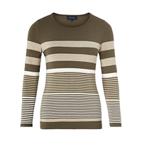 Viyella Striped Jersey Top Khaki