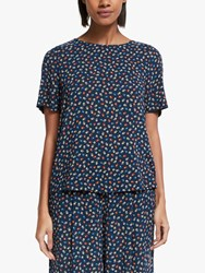 John Lewis Collection Weekend By Short Sleeve Floral Shell Top Black Blue