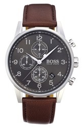 Boss Navigator Chronograph Leather Strap Watch 44Mm