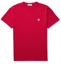 Maison Kitsune Fox Embroidered Cotton Jersey T Shirt Red