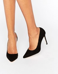 London Rebel Open Waisted Court Shoes Black Micro