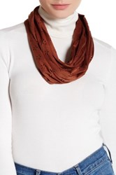 David And Young Faux Suede Perforated Daisy Infinity Scarf Brown