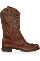 Schutz Studded Embossed Leather Boots Brown