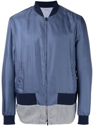 Fendi Striped Hem Bomber Jacket Blue