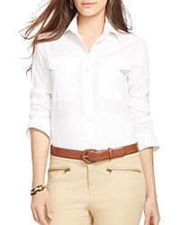 Lauren Ralph Lauren Tagral Button Front Cotton Shirt White