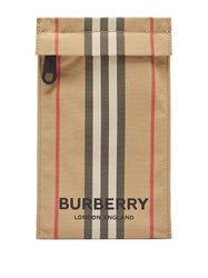 Burberry Heritage Stripe Canvas Phone Pouch Beige Multi