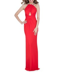 Glamour By Terani Couture Halterneck Open Back Gown Red