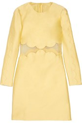 Valentino Silk Organza Trimmed Cotton And Silk Blend Mini Dress Pastel Yellow