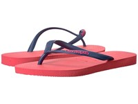 Havaianas Slim Logo Pop Up Flip Flops Coral New Women's Sandals Red