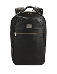 Reason Faux Leather Perforated Backpack Black