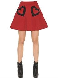 Love Moschino Brushed Cotton Gabardine Skirt W Hearts