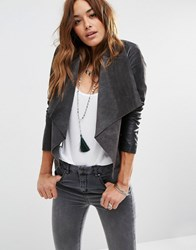 Asos Waterfall Jacket In Patched Suede And Leather Charcoal Grey