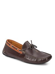 Saks Fifth Avenue Two Tone Leather Moccasins Brown Cognac
