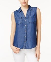 Maison Jules Chambray Sleeveless Shirt Only At Macy's Chambray Dark Wash