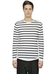 Neil Barrett Striped Cotton Sweater White Black
