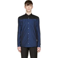 Cnc Costume National Navy Colorblock Button Up Shirt