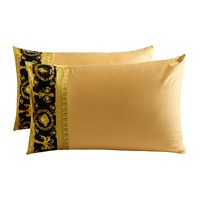 Versace Barocco And Robe Pillowcase Pair Gold Black