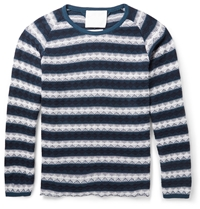 White Mountaineering Striped Textured Knit Cotton Sweater Blue