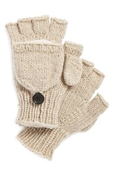 Women's Nirvanna Designs Convertible Fingerless Gloves Beige Oatmeal
