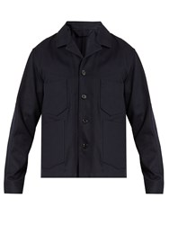 Acne Studios Media Patch Pocket Cotton Drill Field Jacket Navy