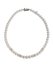 Mikimoto 7Mm 9Mm White Pearl Diamond And 18K White Gold Necklace 18