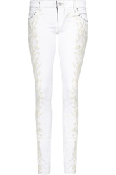 Isabel Marant Galix Embroidered Low Rise Skinny Jeans
